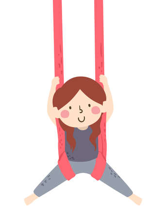 Illustration of a Kid Girl Showing Aerials Silks While Using Fabric