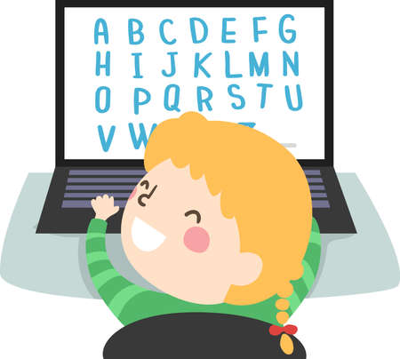 Illustration of a Kid Girl Playing with the Alphabet in Her Laptop 矢量图像