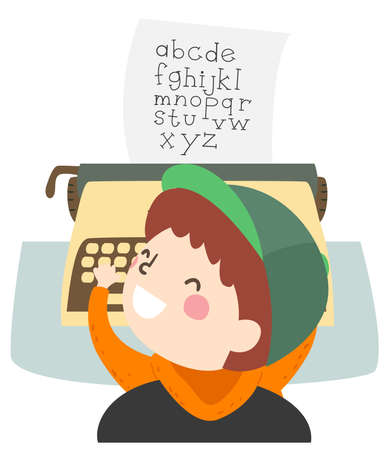 Illustration of a Kid Boy Using Typewriter and Typing All the Letters of the Alphabet