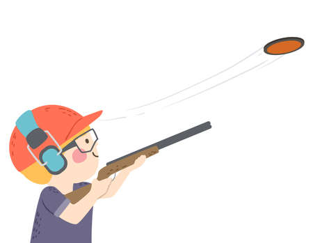 Illustration of a Kid Boy Wearing Goggles, Earphone and Shotgun at Clay Pigeon Shooting Session