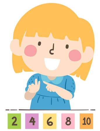 Illustration of a Kid Girl Counting By Twos with Numbers Flash Cards on the Table Vecteurs