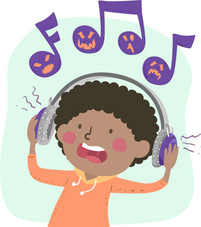 Illustration of a Kid Boy with Headphones Being Scared While Listening to Scary Music Notes Mascot