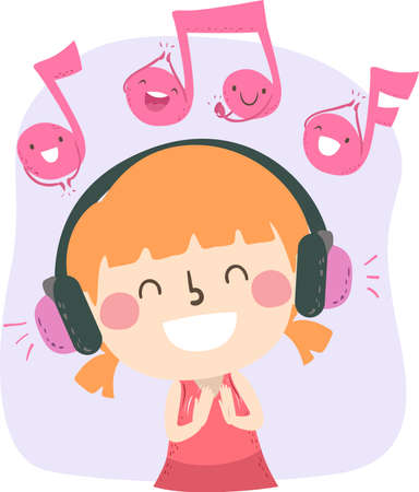 Illustration of a Kid Girl Clapping while Listening to Music Through Headphones with Music Notes Clapping