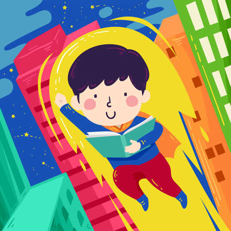 Illustration of a Kid Boy Superhero Flying Up The Buildings While Reading a Book Ilustrace