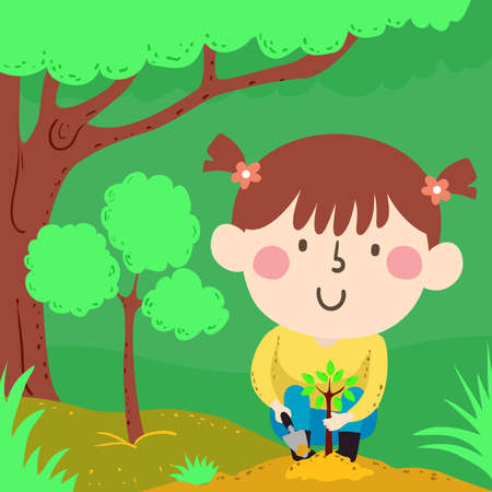 Illustration of a Kid Girl Planting a Seedling of a Tree with an Older One Behind and Another Much Older from Behind Vettoriali