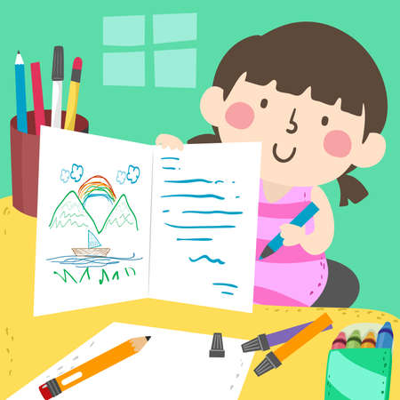Illustration of a Kid Girl Drawing and Writing a Greeting Card at Home  イラスト・ベクター素材