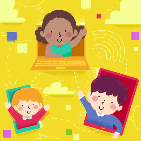 Illustration of Kids Waving from a Computer, Tablet and Mobile Phone Connected Together