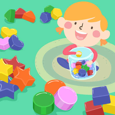Illustration of a Kid Girl Sorting Objects with Basic Shapes From a Jar