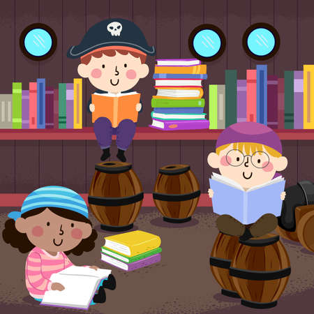Illustration of Kids Pirate Reading Books in a Pirate Themed Library with Barrels and Ship Windows