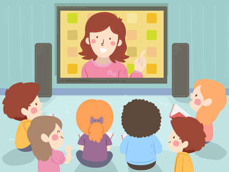 Illustration of Kids Sitting Down Watching the Floor Their Teacher from a Big Television Screen