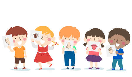 Illustration of Kids Holding the Five Senses Flash Cards from Hearing, Sight, Smell, Taste and Touch