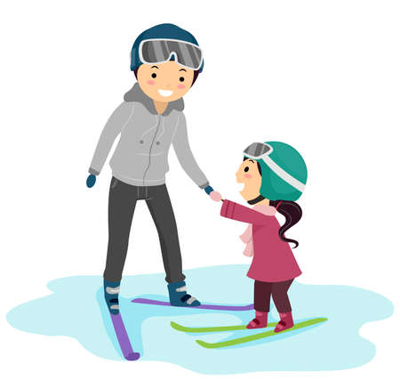 Illustration of a Stickman Kid Girl Learning to Ski From Her Father