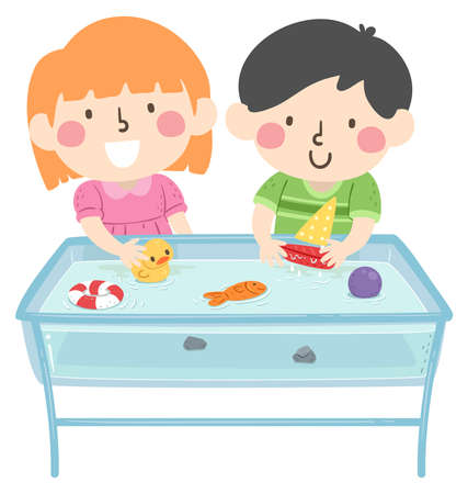 Illustration of Kids Playing in the Water Table Learning About Buoyancy