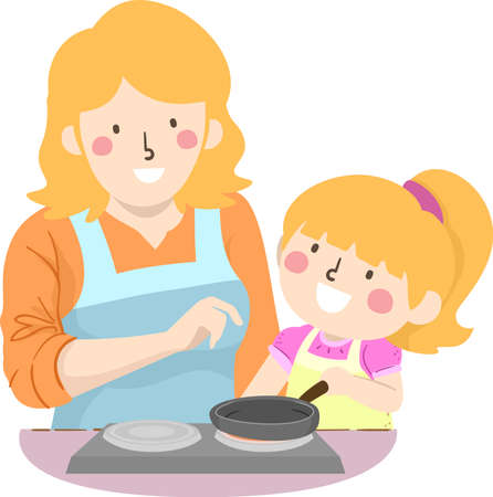 Illustration of a Kid Girl Cooking with Mother Teacher Her How to Use the Stove