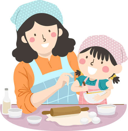 Illustration of a Kid Girl Wearing Apron and Head Scarf Mixing a Mixture in a Bowl with Mother Teaching Her How to Bake