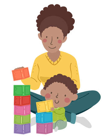 Illustration of a Kid Boy Toddler Stacking Building Blocks with His Mother