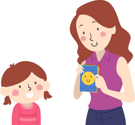 Illustration of a Kid Girl Guessing the Emotion from the Flash Cards Used by Her Mother