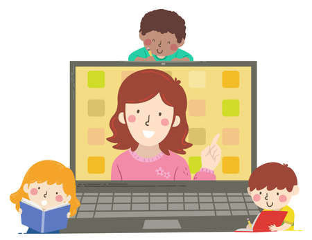 Illustration of Kids Students with Teacher In Laptop. Online Education