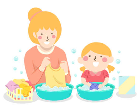 Illustration of a Kid Girl Hand Washing Her Clothes and Doing Laundry with Her Mother