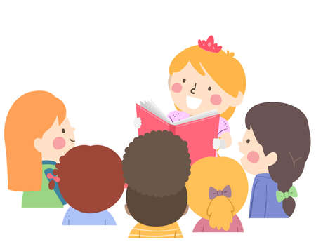 Illustration of Kids Girls Listening to a Kid Girl Wearing Princess Costume and Reading a Book  イラスト・ベクター素材