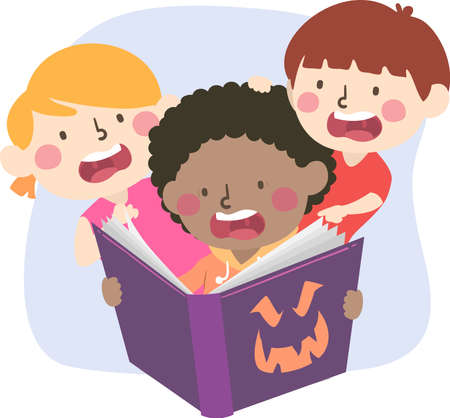Illustration of Kids Getting Scared While Reading a Scary Story in the Book