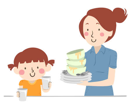 Illustration of a Kid Girl Helping with Household Chores Clearing the Table and Helping Her Mother