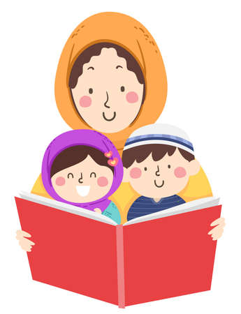 Illustration of Kids Wearing Hijab and Taqiyah Reading a Big Book Held by their Mother