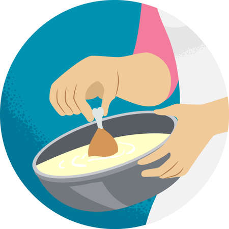 Illustration of a Hand Holding Chicken Legs and Dipping Into Batter for Cooking. Kitchen Verb Dip