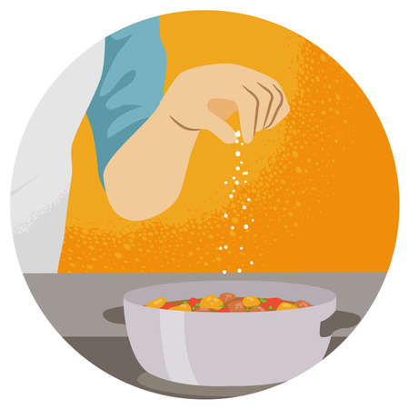 Illustration of a Hand Adding a Pinch of Salt to a Pot of Stew. Pinch