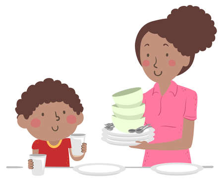 Illustration of an African American Kid Boy Helping with Household Chores, Setting the Table with His Mother Vecteurs