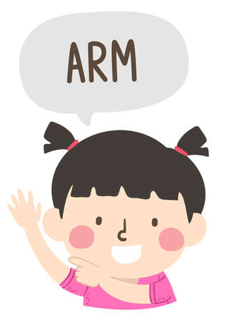 Illustration of a Kid Girl Pointing to and Saying Arm as Part of Naming Body Parts Series