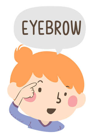 Illustration of a Kid Girl Pointing to and Saying Eyebrow as Part of Naming Body or Face Parts Series