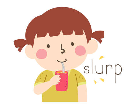 Illustration of Slurp Sound and a Kid Drinking Juice Using a Stainless Bent Straw. Learning Onomatopoeia