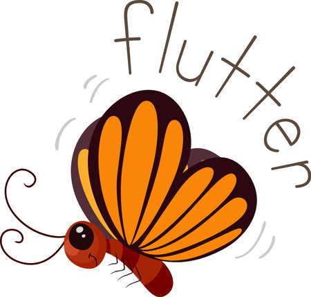 Illustration of Flutter Sound and a Butterfly. Learning Onomatopoeia