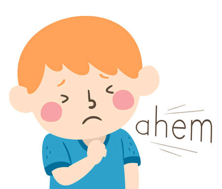 Illustration of a Kid Boy Clearing His Throat and an Ahem Sound. Learning Onomatopoeia