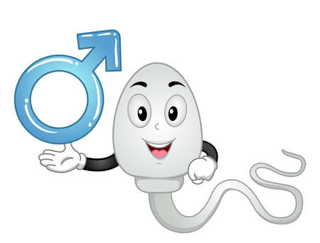 Illustration of a Sperm Mascot Showing a Male Symbol 向量圖像