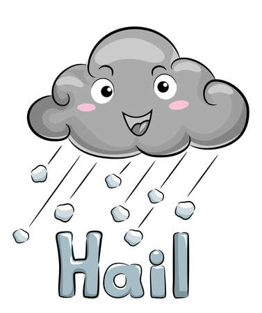 Illustration of a Dark Cloud Mascot with Ice Falling with Hail Lettering Ilustração