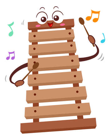 Illustration of a Wooden Xylophone Mascot Holding Sticks and Playing with Music Notes