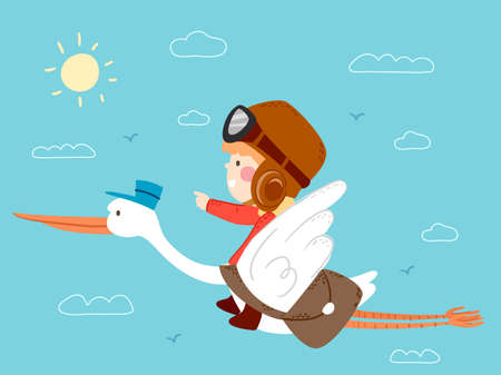 Illustration of a Kid Boy Riding on a Stork Postman Carrying a Bag of Mails Flying in the Sky Vectores