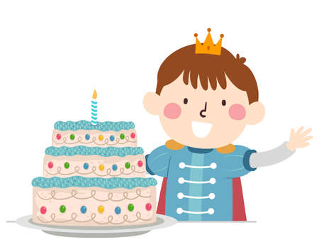 Illustration of a Kid Boy Wearing Prince Costume Waving His Hand Wearing Crown and Cake with His Tall Cake Vetores