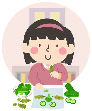 Illustration of a Kid Girl Using Leaves and Green Food like Cucumber and Broccoli as Green Project Vectores