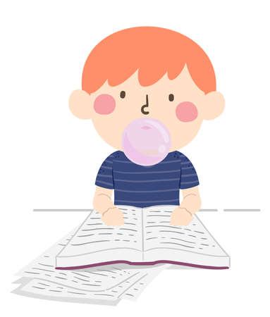Illustration of a Kid Boy Reading a Book and Studying While Chewing Bubble Gum Vectores