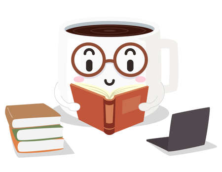 Illustration of a Coffee Mug Mascot Reading a Book with a Stack of Books and a Laptop. Study Hacks Vectores
