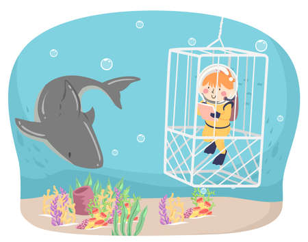 Illustration of a Kid Girl Wearing Scuba Diving Suit Inside a Cage Writing Down Notes and Observing a Shark