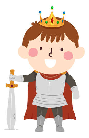 Illustration of a Kid Boy Wearing an Armored King Costume and Holding a Sword Ready for War Vectores