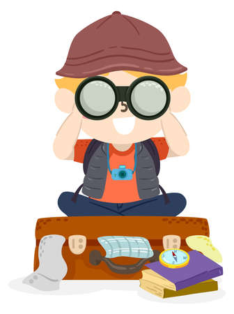 Illustration of a Kid Boy Using Binoculars and Sitting On Top of a Suitcase Overflowing with Clothes, Books and Compass