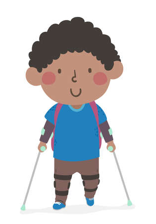 Illustration of a Kid Boy with Backpack Going to School with Leg Brace and Walking Crutches