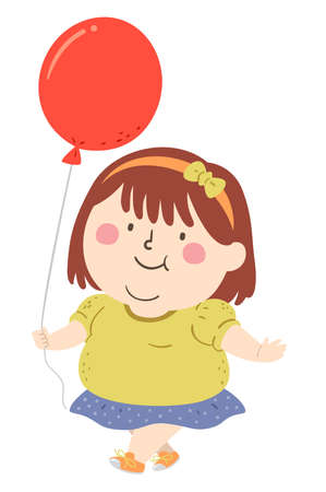 Illustration of a Cute and Fat Kid Girl Walking and Holding a Balloon