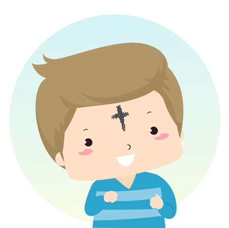 Illustration of a Kid Boy with a Cross Symbol on the Forehead for Ash Wednesday