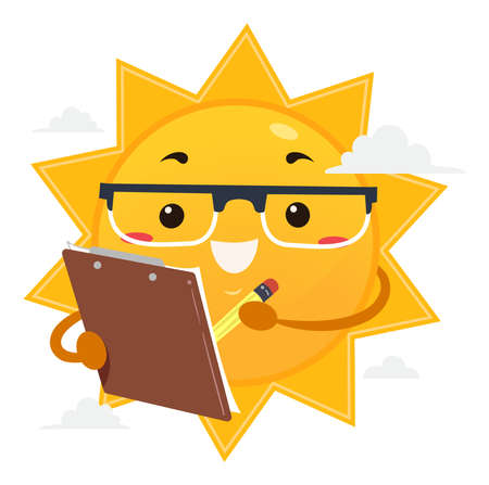 Illustration of a Sun Mascot Scientist Holding Pencil and Clipboard Gathering Data